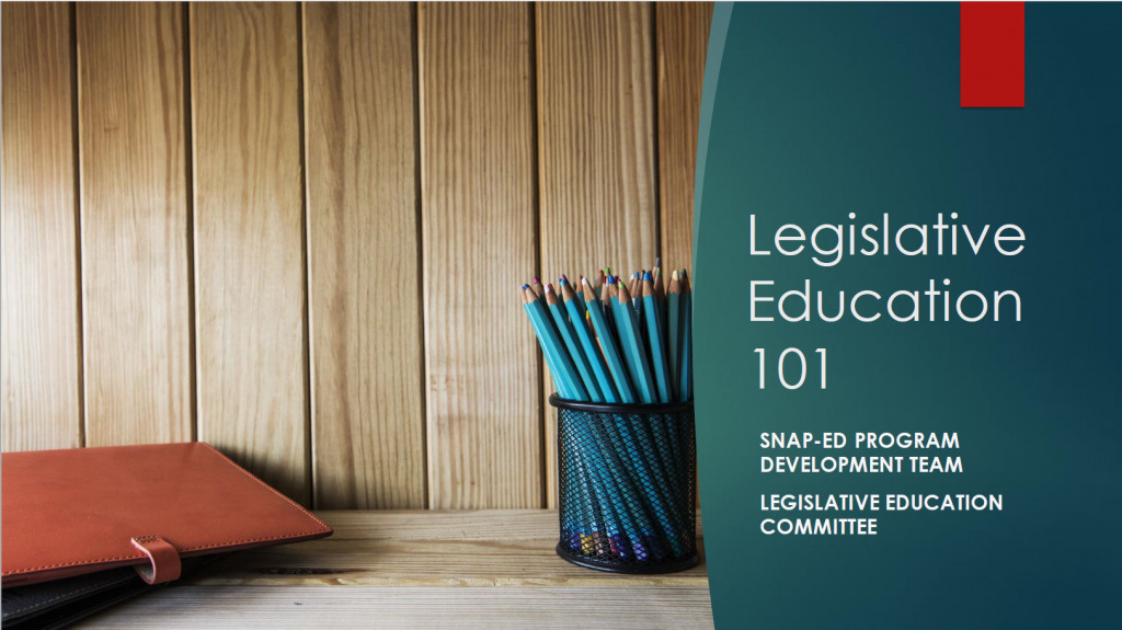 Legislative education 101 slide to share webinar.